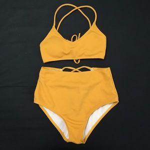 2/$20 Zaful Yellow High Waisted Bikini